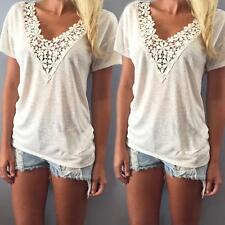 Women Summer Loose Vest Short Sleeve Lace Blouse Casual Tank Tops Cotton T-Shirt