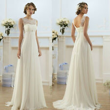 New White Chiffon Wedding Dress Bridal Gown Stock Size 4 6-8-10-12-14-16