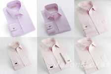 Mens Classic Fit Style Pink Dress Shirt Wrinkle-Free Cotton Long Sleeve & Tie