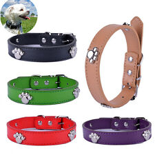 Dog Collar Paw Accessories Pu Leather Collar Black Red Yellow Green Pet Products