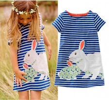 Cute Rabbit Print Baby Girls Kids Summer Short Sleeve Striped Long T-shirt Dress