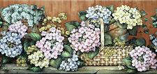 flowers and baskets,green and pink wallpaper border