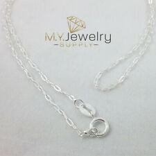 """925 Sterling Silver Oval Cable Chain Necklace Italy 1.4mm 16"""" 18"""" Spring Ring"""