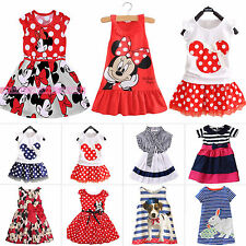 Summer Girls Dress Princess Baby Mickey Minnie Mouse Vest Skirt for 1-7 Years