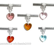Wholesale Lots Mixed Crystal Dangle Beads Fit Charm Bracelet 24x10mm