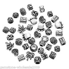 Wholesale Lots Mixed Silver Tone Beads Fit Charm Bracelets 9x7mm-14x14mm