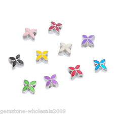 Wholesale Lots Mixed Enamel Flower Beads Silver Tone Fit Charm Bracelet 13x10mm