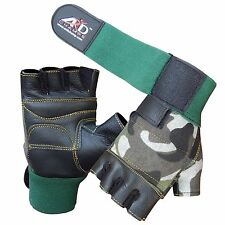 ARD™ Leather Weight Lifting Gloves Long Wrist Wrap Padded Strength Training Gym