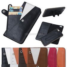 Detachable Wallet Card Flip Stand Wallet Phone Case Cover for iPhone & Samsung