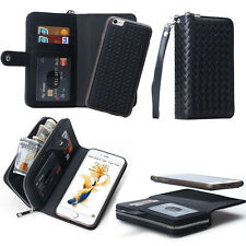 For iPhone & Samsung Magnetic PU Leather Zipper Wallet Card Flip Case Cover