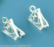 Wholesale Lots W09 Silver Plated Heart Pinch Bail Findings 12x8mm