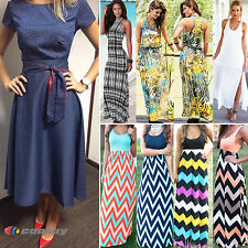 Womens Bodycon Loose Cocktail Long Beach Dress Ladies Summer Evening Party Maxi