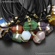 Natural Gemstone Hexagonal Prism Reiki Chakra Bead Pendant Real Leather Necklace
