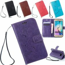Retro Flower Pattern PU Leather Wallet Card Stand Case Cover For Samsung Galaxy