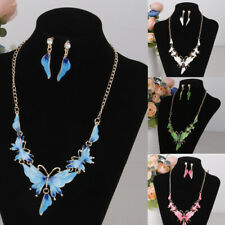 Women Vintage Enamel Butterfly Pendant Necklace Earrings Wedding Jewelry Set