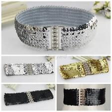 Stylish New Ladies Women Sequins Casual Elastic Stretch Shinning Waist Band Belt