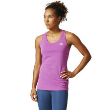 Adidas Womens Pink Climachill Running Gym Slim Fit Sports Vest Tank Top