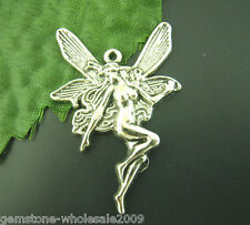 Wholesale Mixed Lots Silver Tone Fairy Angel Charms Pendants 43x30mm