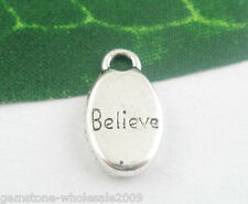 "Wholesale Mixed Lots Silver Tone ""Believe"" Charms Pendants 15x9mm"