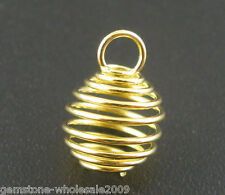 Wholesale Lots Gold Plated Spring Bead Cages Pendants 8x9mm