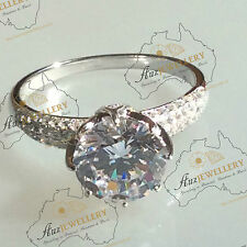 10mm (3.8ct) 8 claw Created Diamond Engagement Ring in Real 925 Sterling Silver