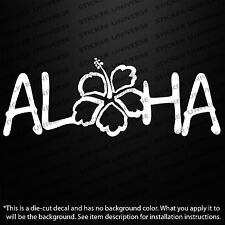 "ALOHA HIBISCUS FLOWER HAWAIIAN Design 3.5""X7"" Vinyl Die Cut Decal Bumper Sticker"