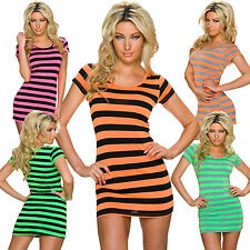 Ladies Short Sleeve Shirt T-Shirt Mini dress Block stripes 34 36 Party Club