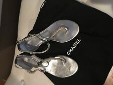 Chanel silver sandals with beads beautiful