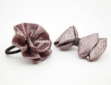 Handmade Satin Bow Flower Golden Mesh Wrapped Hair Barrette Ponytail Holder Set