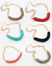 Bohemia Style Fashion Handmade Beaded Chunky Chain Bib Statement Collar Necklace