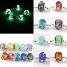 Hot 10pcs Glow in the dark Glass Lampwork Beads Fit Charms European Bracelet DIY