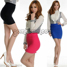 Cool Candy Colour Panel Pencil Bodycon Plain Bandage Rib OL Stretch Mini Skirt