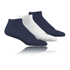 Adidas Performance No Show Mens Womens White Blue Anklet Sports Socks 3 Pack