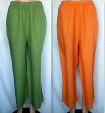 FLAX Pants, L, Neutral Floods, Linen, Apricot or Green, 2 Fabrics  NWOT