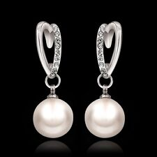 Women Noble Jewelry 18K White Gold Plated GP Clear Crystal Pearl Dangle Earrings