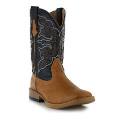Men's Brown & Navy Tan Faux Leather Cowboy Roper Boots Cheap New Western Padded