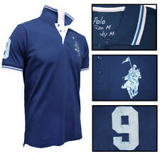 Mens MAX Racing Polo Shirt Atlantic Blue with Embroidered Horse & Rider SLIM FIT