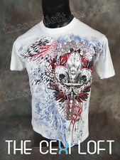 NEW MENS KONFLIC GRAPHIC T-SHIRT in White with Silver Foil Highlights UFC MMA