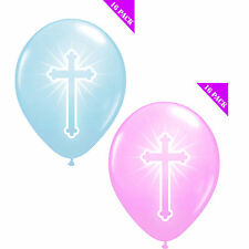 16 Christening Cross Latex Balloons Pink & Blue Party Decoration Balloons