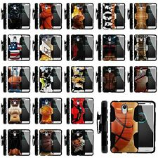 For Motorola Droid Turbo 2 | Clip + Holster + Case Combo Kickstand Basketball