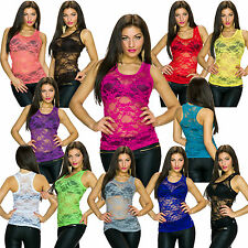 Women'S Tank Top Shirt Racer Back Lace transparent S 34 36 Party Club Fashion