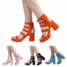 NEW WOMENS HIGH BLOCK HEEL PEEPTOE LADIES PLATFORM STRAPPY SANDAL SHOES SIZE 3-8