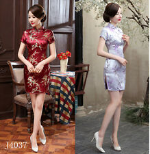 Chinese Women Mini Qipao Evening Dress Cheong-sam S M L XL 2XL 3XL 4XL 5XL 6XL