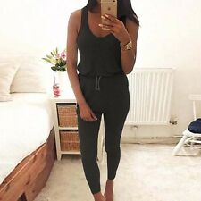 Women Summer Tunic Tracksuit Rompers Jumpsuits Tank Top Lace Up Waist Long Pant