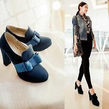 Hot Womens Bowknot Faux Suede Platform Chunky Heel Ankle Boots Work Party Shoes