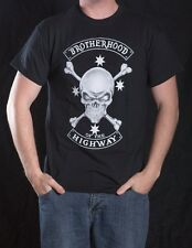 BIKER T-SHIRT BROTHERHOOD OF THE HIGHWAY SKULL & CROSSBONES SOUTHERN CROSS AUST