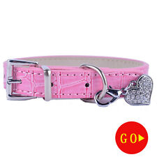 FashionCroc Leather Dog Collar Rhinestones Heart Shaped Accessories Pendants Tag