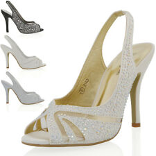 Womens SlingBack Stiletto Sandals Ladies Satin Diamante Prom Bridal Party Shoes