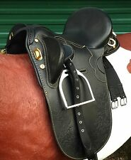 Stock saddle Black leather fully mounted 13' 14'