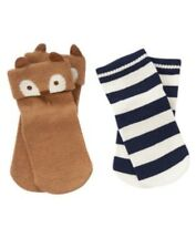 GYMBOREE FOREST FRIENDS TAN FOX N STRIPE 2-PAIR OF BOYS SOCKS 3 6 12 NWT